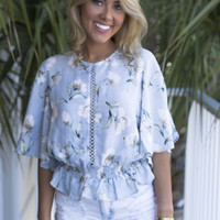 Bells Of Ireland Blue And Ivory Pastel Top