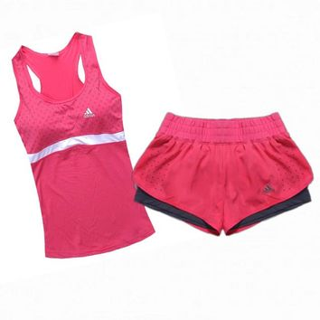 Adidas Fashion Casual Solid Color Vest Shorts Set Three-Piece Sportswear