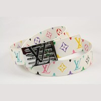 LV Men Woman Fashion Smooth Buckle Belt Leather Belt