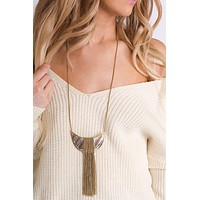 Mika Chain Tassel Necklace (Gold)