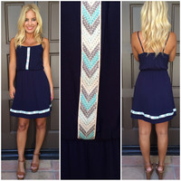 Serenity Embroidered Chevron Dress - NAVY