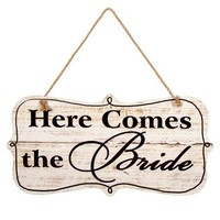 "Decorative Here Comes the Bride Wedding Sign - 1/8"" L x 18.75"" W x 9.75"" H"