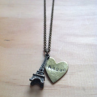 """Paris Eiffel Tower with Amour Heart """"French Love"""" Necklace"""