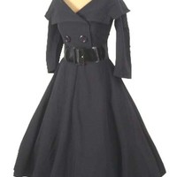 "Bettie Page 50s Inspired Black ""Secretary"" Dress w/Full Swing Skirt"