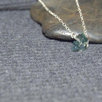 natural stone necklace, tiny gemstone necklace, sterling silver dainty necklace, moss agate, tiny bead necklace, single bead necklace