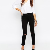 ASOS Ankle Grazer Skinny Twill Trousers with Ripped Knees