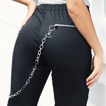 New hot sale chain straight leg multi-pocket elastic casual pants