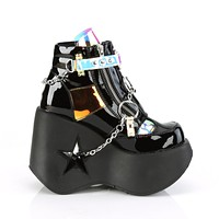 "Dynamite 101 Black 5"" Star Wedge Ankle Boot Chain & Studs Magic Mirror"