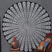 White Black Mandala Hippie Hippy Wall Hanging Indian Tapestry Throw Bedspread Bed Decor Sheet Ethnic Decorative Art