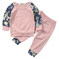 Baby Sets baby Girls clothing set autumn born Baby Girls Floral Outfits Clothes T-shirt Pants Trousers Clothes Set Play suit
