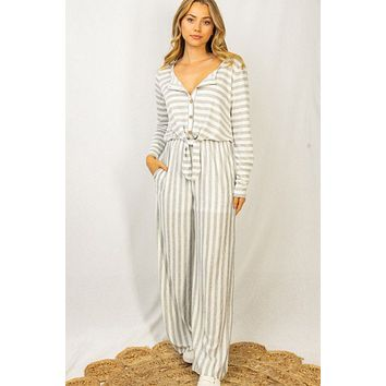 Coastal Living Grey And White Striped Long Sleeve Jumpsuit