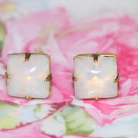 Vintage Opal White Square Glass Stone Brass Gold Post Earrings - Bridesmaids