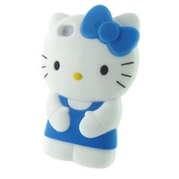 Fashional Blue 3D Silicone Gel Hello Kitty Shell Protector Case for Apple iphone 4/4S/4G