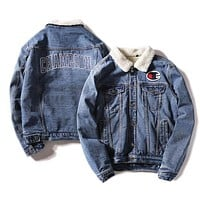 Champion Autumn And Winter New Fashion Bust Side Embroidery Logo And Back Letter Print Cowboy Keep Warm Women Men Long Sleeve Top Coat