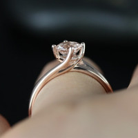 Souffle 14kt Rose Gold Round Morganite Single Twist Kite Solitaire Engagement Ring (Other metals and stone options available)