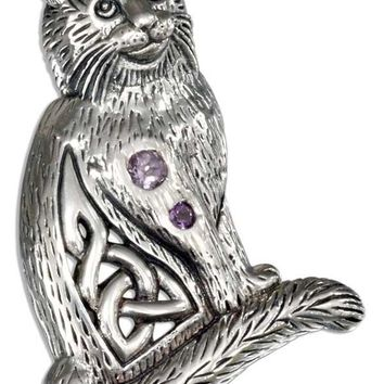 Sterling Silver Charm:  Celtic Cat Pendant With Two Round Amethyst Stones