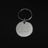 Personalized Key Chain. Silver Medallion Key Chain. Engraved Key Chain. Friendship. Graduation.Groomsmen Gift.Wedding Thank You.Father's Day