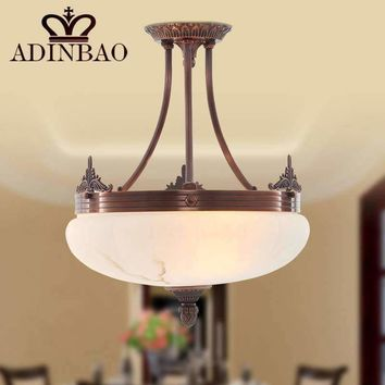 2015 New Fashion America style Copper Glass ceiling light 8005-D360