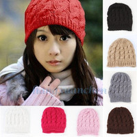 2015 new fashion  hot sale  gift Womens Knit Crochet Ski Hat Winter Warm Braided Baggy Beret Beanie Cap = 1958032260