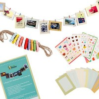 """Bundle Monster Wall Deco DIY Paper Photo Frame with Mini Clothespins and Stickers - Fits 4""""x 6"""" Pictures (1, Multi-color)"""