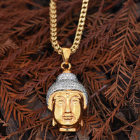 Buddha Head Pendant 18K Gold Finish Franco Necklace Lab Diamonds