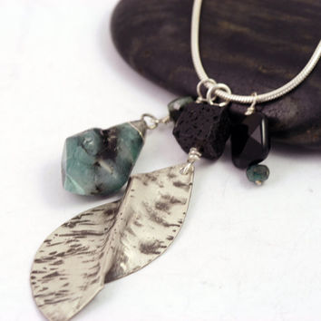 Emerald and Leaf Charm Necklace