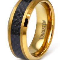 King Ice Gold Carbon Fiber Inlay Tungsten Carbide Ring