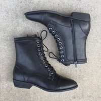 Lucy Lace Up Boots in Black