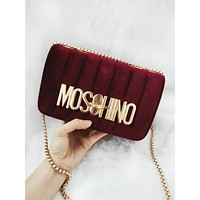 MOSCHINO Popular Women Shopping Velvet Metal Chain Shoulder Bag Crossbody Satchel Burgundy