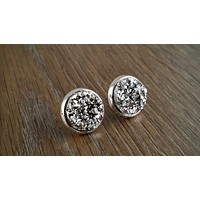 Druzy earrings- silver drusy silver tone stud druzy earrings