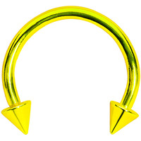 16 Gauge Yellow Titanium Spike Horseshoe Circular Barbell 3/8"