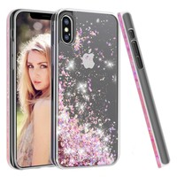 iPhone X Case,Soundmounds iPhone X,iPhone 10 Glitter Flowing Liquid Floating Fashion Bling Case Cover for iPhone X (Diamond Powder)