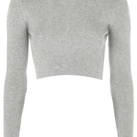 Ribbed Crew Neck Cropped Jumper - Topshop