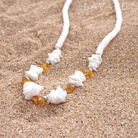 Puka Gem Yellow Hawaiian Necklace