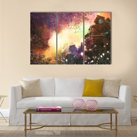 Landscape With Ancient Tower Multi Panel Canvas Wall Art