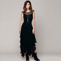 2016 PUNK RAVE Lace Dark Dress ROMANTIC GOTHIC hexe Witch Wicca S M L Long Dress