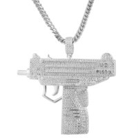 Men's Iced Out Pistol Gun Pendant Franco &Tennis Chain