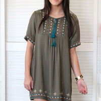 You're a Dime Embroidered Tunic Dress {Olive}
