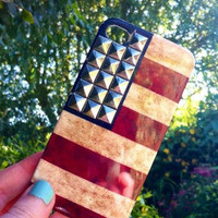 Studded Silver USA American Flag Stars Stripes Print iphone 5 Case