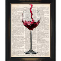 """Red Wine dictionary art print. Home bar wall decor Enjoy a glass of wine vintage dictionary book page 8x10"""" See our other great wine prints!"""