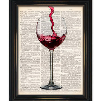 "Red Wine dictionary art print. Home bar wall decor Enjoy a glass of wine vintage dictionary book page 8x10"" See our other great wine prints!"