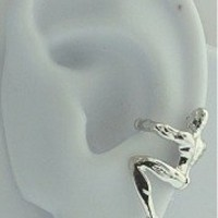 Sterling Silver Left Or Right Pierceless Climbing Man Ear Cuff Wrap