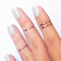 4 Thin Knuckle Rings in Rose Gold - set of 4