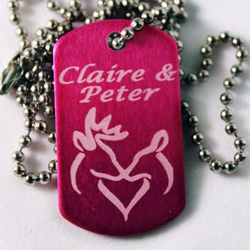 """""""Buck and Doe"""" customized Dog Tag with Your Names Necklace"""