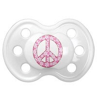 Cute Pink Flowered Peace Sign BooginHead Pacifier
