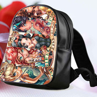 "Disney Tattoo Princess for Backpack / Custom Bag / School Bag / Children Bag / Custom School Bag ""NP"""