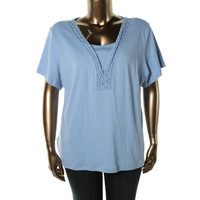 Karen Scott Womens Plus Cotton Crochet Trim Knit Top