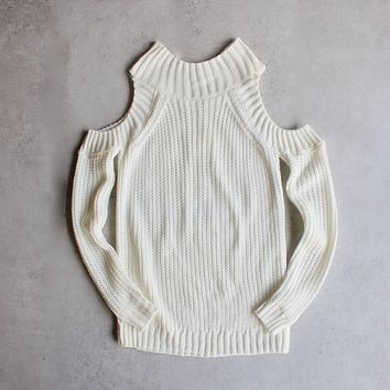 Final Sale - Cold Shoulder Knit Sweater - Ivory