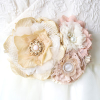 Floral Bridal Belt - Blush Pink Vintage Blossoms