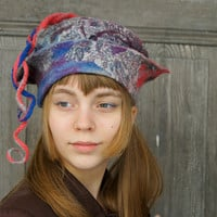 Unique fancy felted hat with long dreadlocks, gray with blue, purple and salmon. OOAK